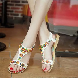 Ericdress Beads Decorated Elastic Band Flat Sandals
