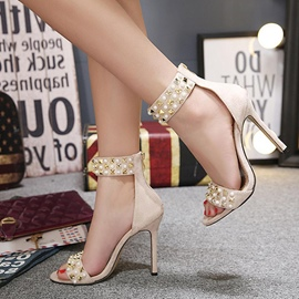 Ericdress Beads&Rivet Decorated Open Toe Plain Stiletto Sandals