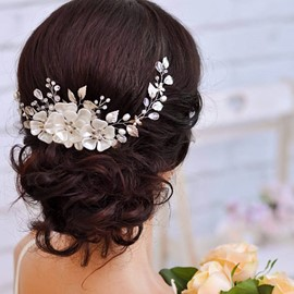 Ericdress White Leaves Handmade Pearl Hair Accessories