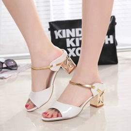 Ericdress Flip Flop Plain Block Heel Mules Shoes