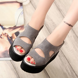 Ericdress Flip Flop Platform Plain Wedge Heel Mules Shoes