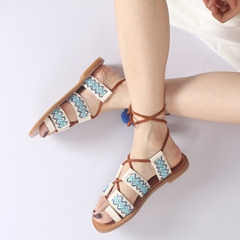 Ericdress Pompon Strappy Toe Ring Flat Sandals