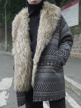 Ericdress Ethnic Print Thicken Warm Men's Winter Coat