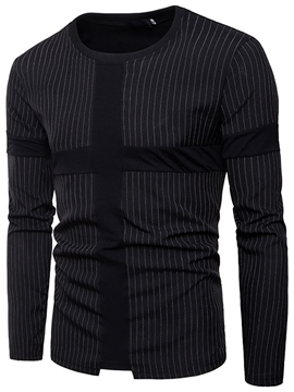 Ericdress Round Neck Loose Men's Stripe T Shirt