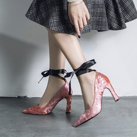 Ericdress Plain Lace-Up Pointed Toe Block Heel Pumps