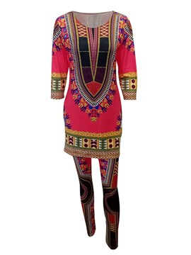 Ericdress Dashiki T-Shirt and Pants Women's Two Piece Set