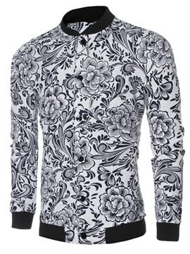 Ericdress Floral Print Stand Collar Men's Jacket