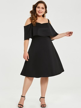 Ericdress Half Sleeve Backless Plus Size Knee-Length Ruffle Sleeve Plain Dress