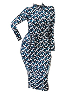 ericdress geometrisches print lace-up Etuikleid