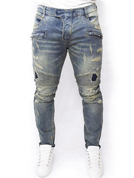 Ericdress Worn Plain Ripped Straight Mens Thin Denim Pants