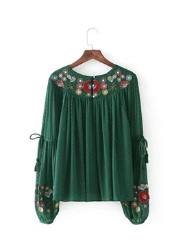 Ericdress Loose Pleated Floral Embroidery Blouse
