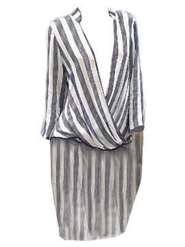 Ericdress V-Neck Stripe Long Blouse