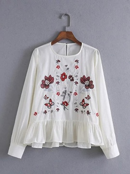 Ericdress Loose Floral Embroidery Peplum Blouse