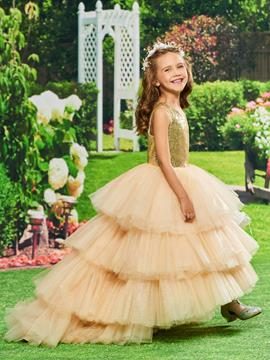 Ericdress Ball Gown Asymmetry Flower Girl Party Dress