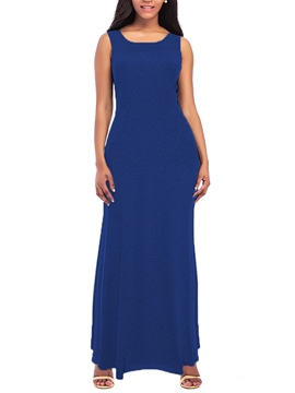 Ericdress Solid Color Plain Sleeveless Women's Maxi Dress