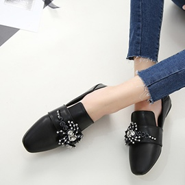 Ericdress Rhinestone Square Toe Plain Women's Flats