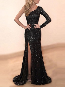 Ericdress One Sleeve Mermaid Sequins Evening Dress With Slit Black Wedding Dresses