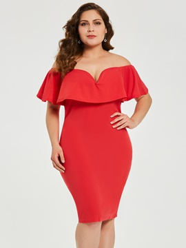 Ericdress Plus Size Falbala Short Sleeve Off Shoulder High Waist Plain Dress