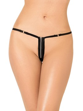 Ericdress Flirting Zipper Black G-String
