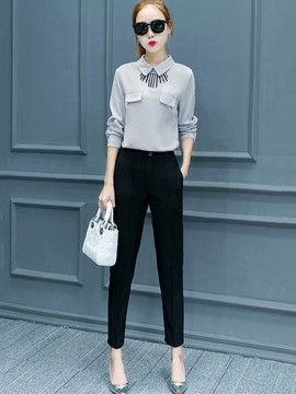 Ericdress Shirt and Ankle Length Pants Women's Suit