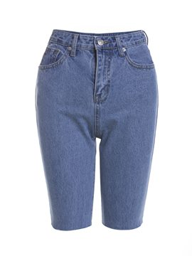 Denim Straight Knee Length Women's Jeans