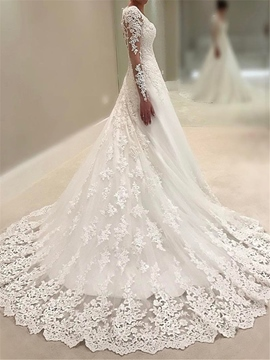 Ericdress A Line Long Sleeves Appliques V Neck Wedding Dress