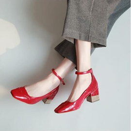 Ericdress Square Toe Plain Chunky Heel Pumps