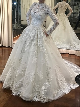 Ericdress High Neck Ball Gown Lace Long Sleeves Wedding Dress