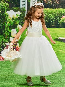 Ericdress Tulle Ball Gown Tea length Flower Girl Dress