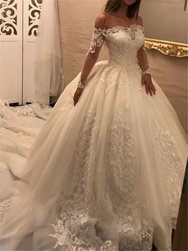 Ericdress Off The Shoulder Appliques Long Sleeves Ball Gown Wedding Dress