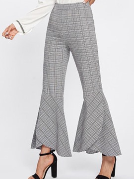 Ericdress Plaid Bell Bottom Women's Pants