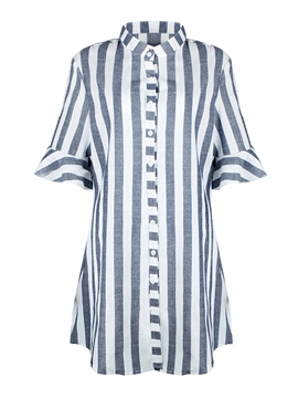 Ericdress Stripe Single-Breasted Mid-Length Shirt