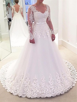 Ericdress V Neck A Line Long Sleeves Appliques Wedding Dress
