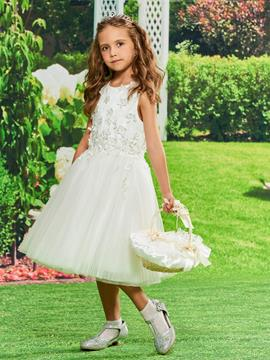 Ericdress Straps Appliques Knee Length Flower Girl Dress