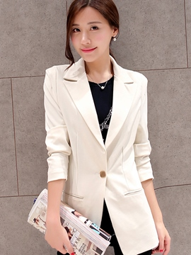 Ericdress Plain Single Button Mid-Length OL Blazer