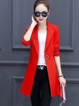Ericdress Slim Plain Single Button Mid-Length Blazer