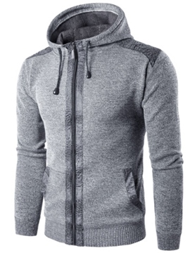 Ericdress Hooded Zipper Men's Sweater