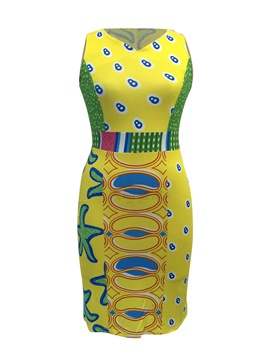 Ericdress Sleeveless Pullover Print Women's Bodycon Dress