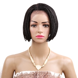 Short Bob Lace Front Wig Ombre Burgundy Braid Synthetic Wigs for Women 6 Inches