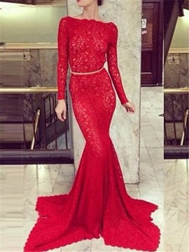 Ericdress Long Sleeve Backless Mermaid Lace Evening Dress