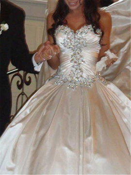 Ericdress Sweetheart Rhinestone Pearls Cathedral Train Wedding Dress