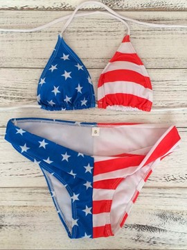 Ericdress American Flag Stars and the Stripes Bikini Set