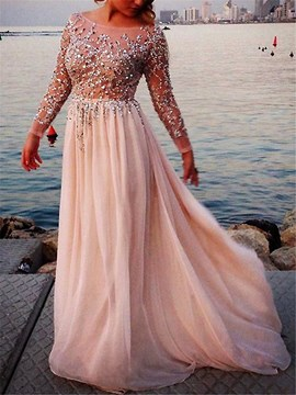 Ericdress A Line Sequins Beaded Evening Dress With Long Sleeves