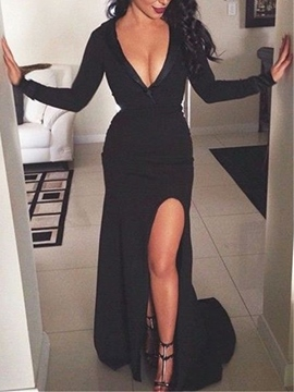 Ericdress Sheath Deep V Neck Long Sleeve Mermaid Evening Dress