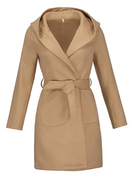 Ericdress Plain Mid-Length Lace-Up Overcoat