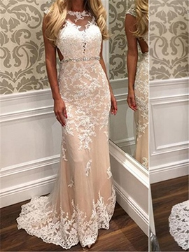 Ericdress Backless Sheath Appliques Tulle Wedding Dress