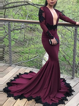Ericdress Long Sleeve Deep Neck Applique Backless Mermaid Evening Dress