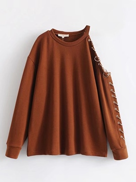 Ericdress Plain Cold Shoulder Asymmetric Sweatshirt