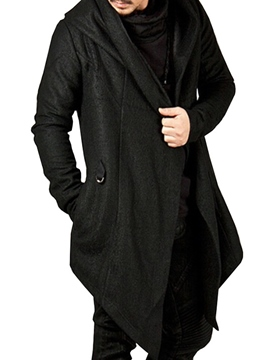Ericdress Hooded Solid Color Irresgular Men's Coat
