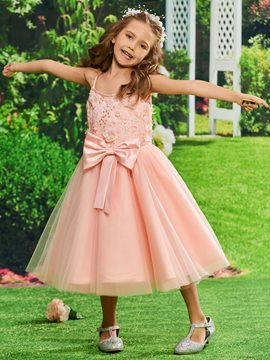 Ericdress Spaghetti Straps Ball Gown Tea Length Flower Girl Party Dress